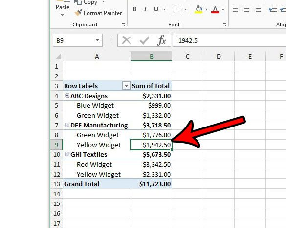 click inside the pivot table