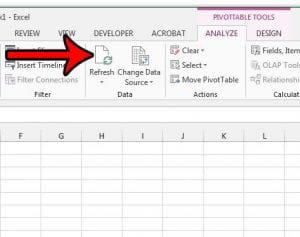 how to refresh a pivot table in excel 2013