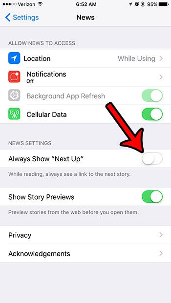 how to remove the next up link from the iphone news app