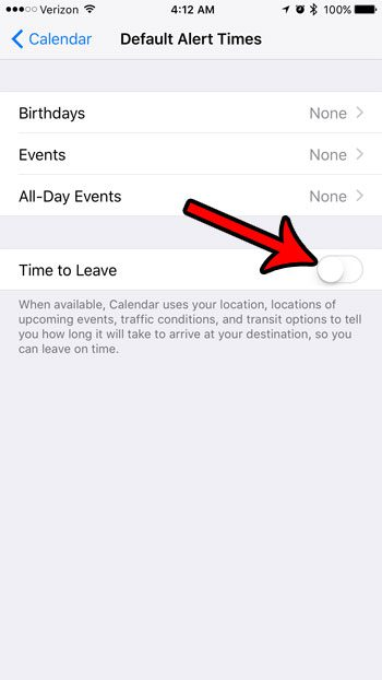 how to turn off time to leave alerts on iphone calendar