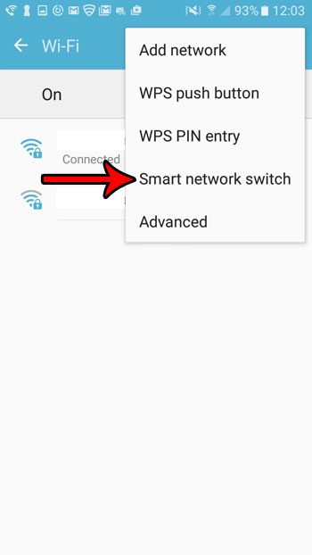 select the smart network switch on samsung galaxy on5