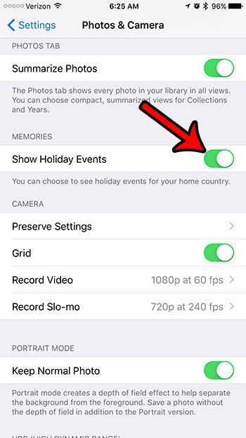 how to show holiday events in iphone photos