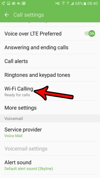 open android wi fi calling menu