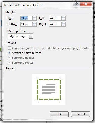 change margin settings for word page border