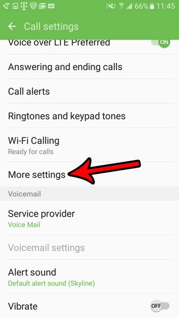 tap the more settings button