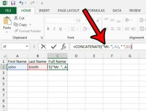 how to concatenate text in excel 2013