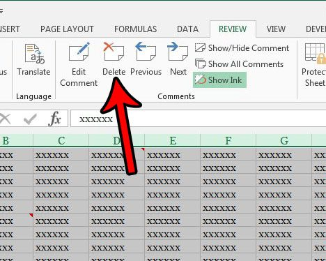 how to delete all comments in excel 2013