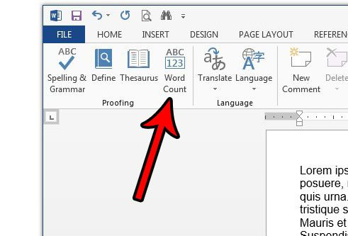 how to count the number of words in a document in word 2013