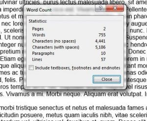 how to do a word count in word 2013