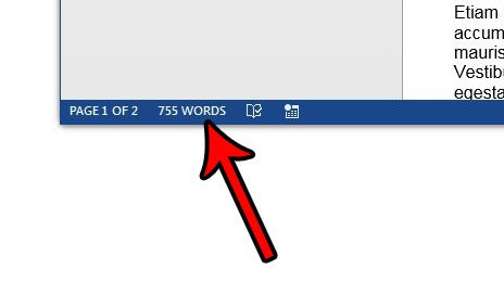 locate the word count information in word 2013