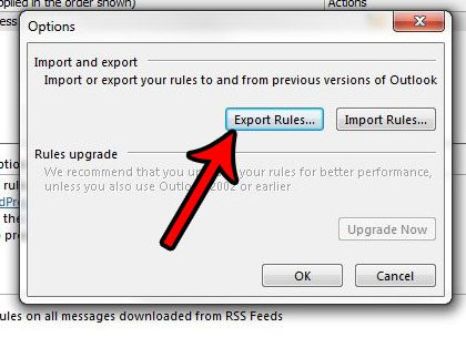 click the export rules button
