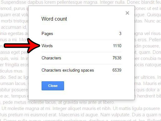how to get a word count in google docs