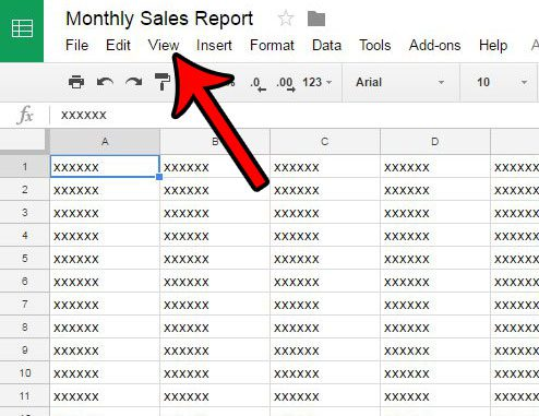 click the view tab in google sheets
