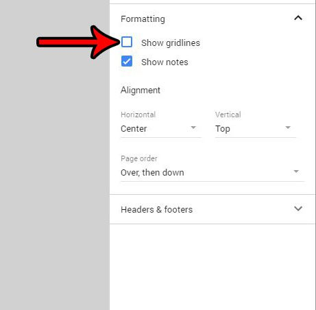 turn off the show gridlines option in google sheets