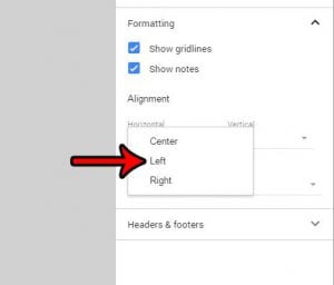 how to left align a spreadsheet in google sheets