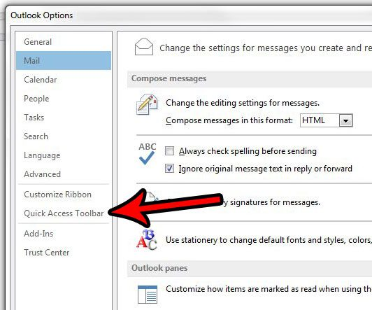 open the quick access toolbar menu in outlook 2013