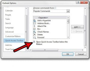 How to Move the Quick Access Toolbar Below the Ribbon in Outlook 2013
