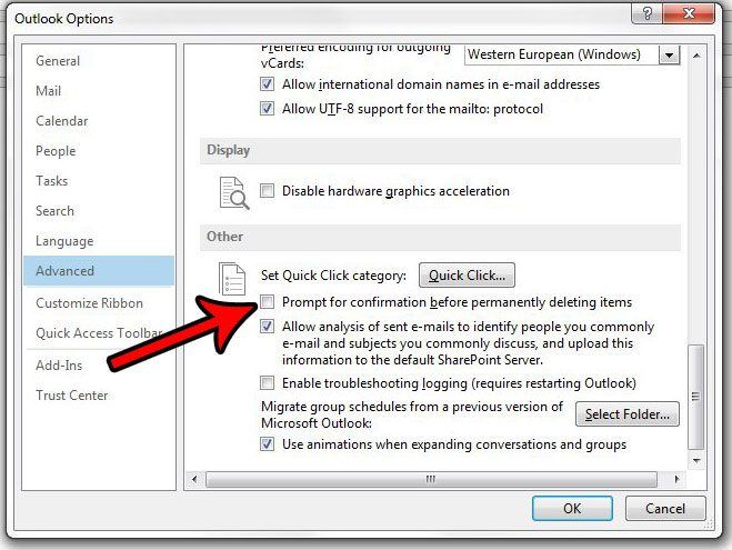 how to disable prompt for confirmation before deletion outlook 2013