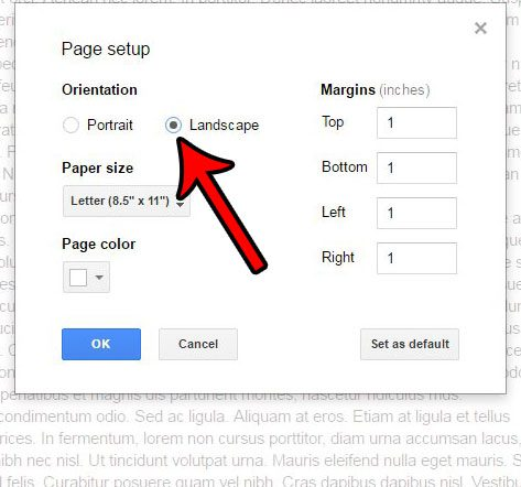 How to Change to Landscape Orientation in Google Docs ...