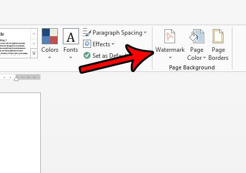 click the watermark button in word 2013