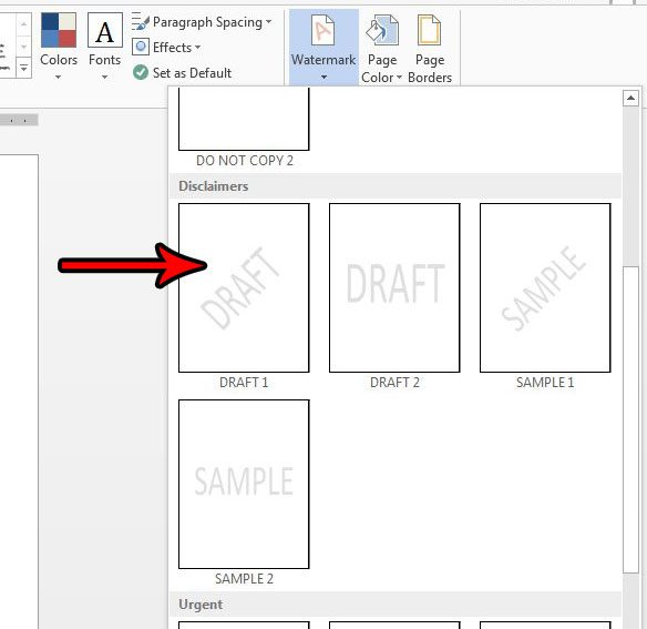 How To Add A Draft Watermark In Word 2013