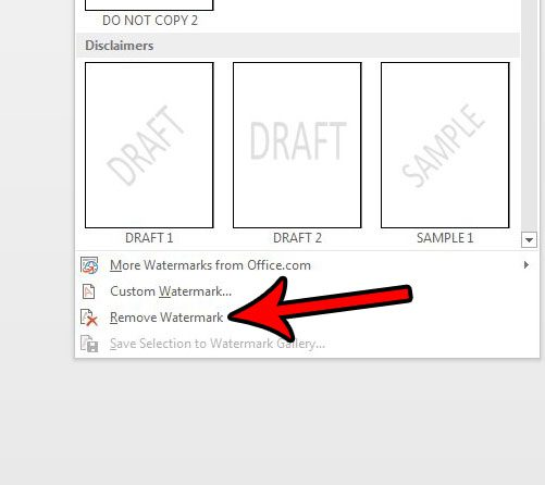how to remove a watermark in word 2013