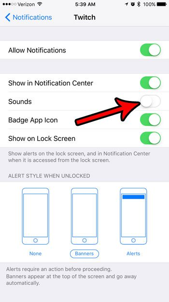 how to turn off twitch notification sounds on iphone