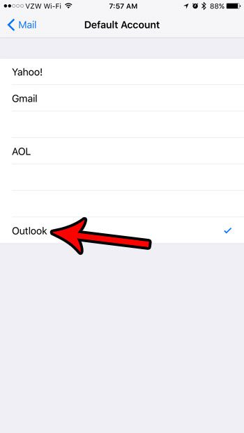 how to set the default email account in ios 10