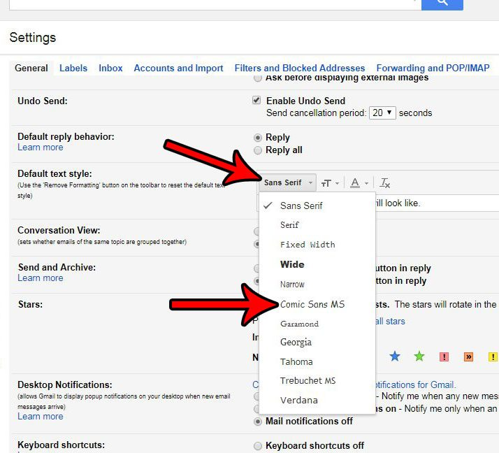 how to change default font in gmail