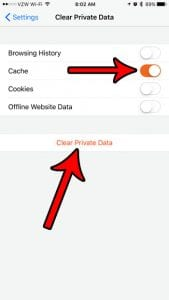 how clear cache firefox iphone
