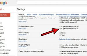 how to turn on keyboard shortcuts in gmail