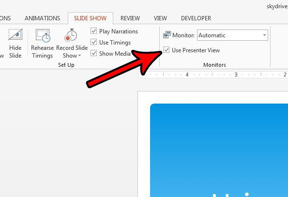 how to enable presenter view in powerpoint 2013