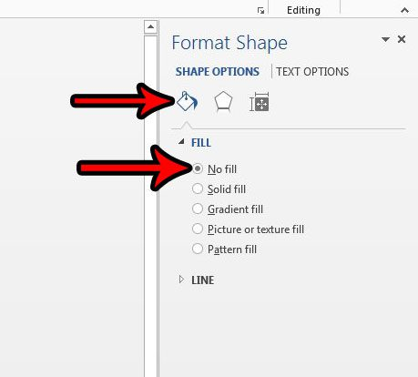 how to remove fill from text box in word 2013