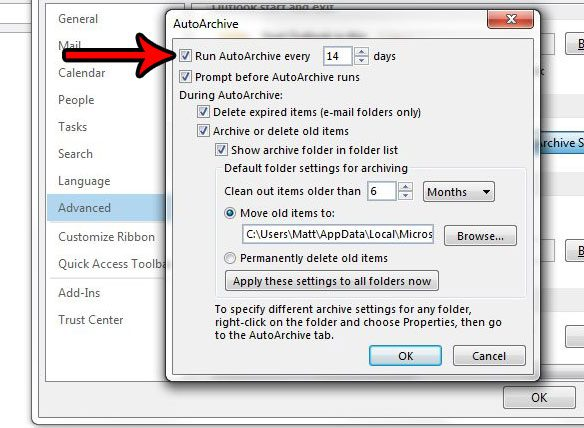 how to use autoarchive in outlook 2013