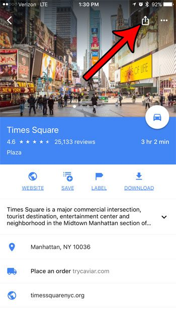 how to share a pin link in google maps on iphone