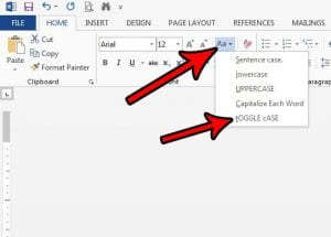 How to Toggle Case in Word 2013