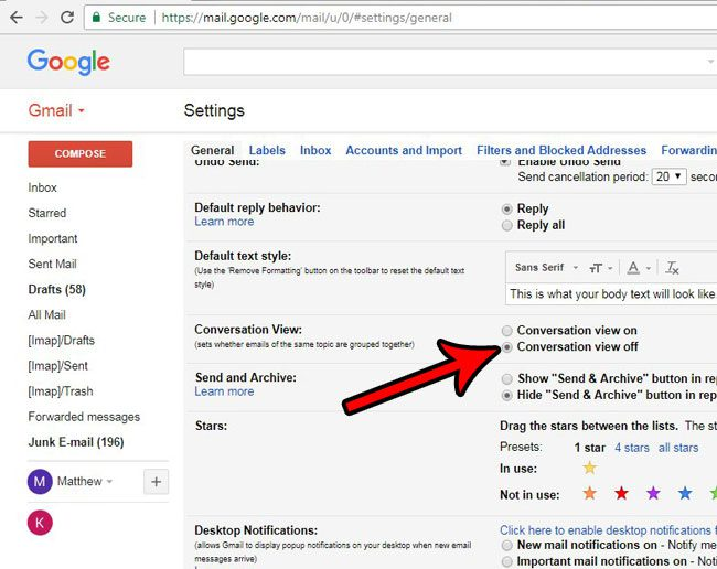 how to turn off conversations in gmail