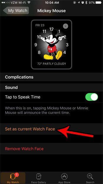 how to use mickey mouse face apple watch