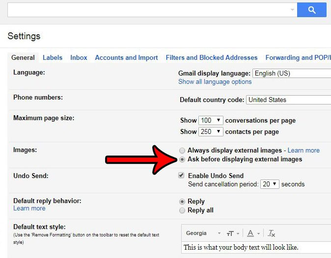 how to ask before displaying images in gmail