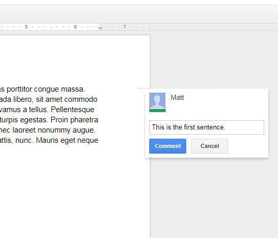 how to comment in google docs document
