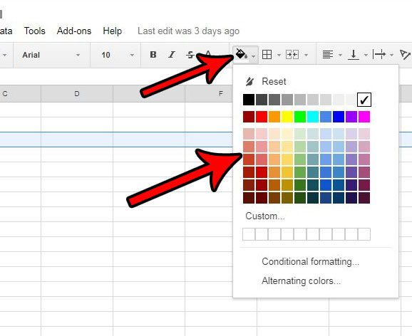 how to use fill color in google sheets