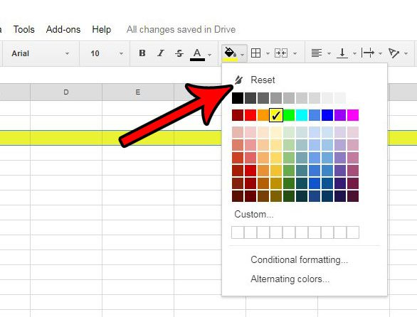 highlight a row in google sheets