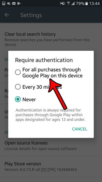 require password for play store purchases