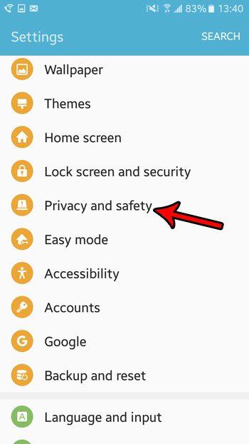 open the privacy and safety menu