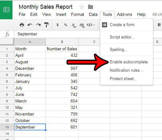 turn off autocomplete in google sheets