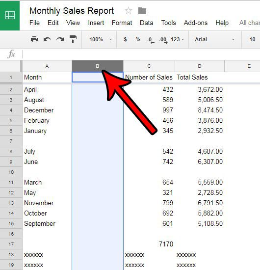 google sheets deleting columns