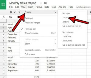 how to repeat the top row on every page in google sheets
