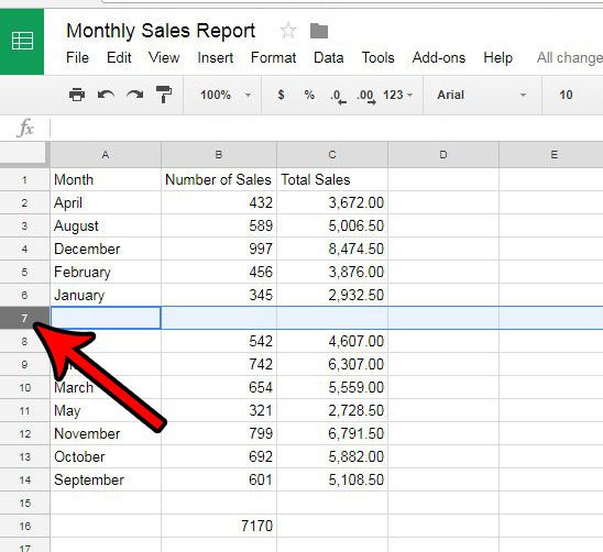 select row in google sheets
