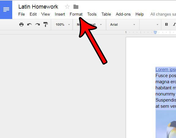 click the format tab in google docs