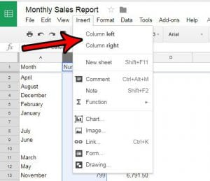 How to Insert a Column in Google Sheets